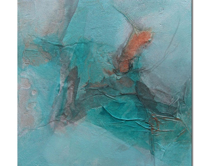 Original Abstract art Mixed Media contemporary modern turquoise copper. Divining 25
