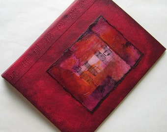 Handmade 8x6 Journal Refillable Distressed Red Violet Rice Paper Collage Original