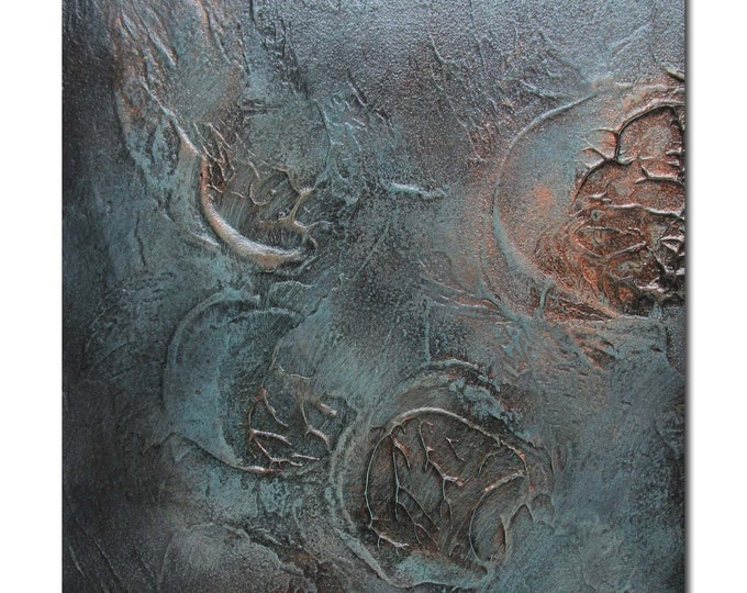 Original Abstract Art Modern Textured Painting copper black turquoise. Fossil 2