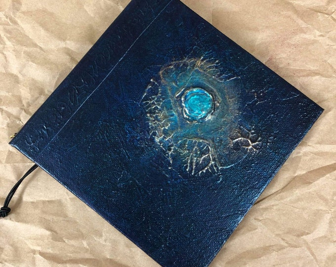 Handmade Refillable Journal 6x6 Dark Turquoise Jewel Original travellers notebook hardcover fauxdori