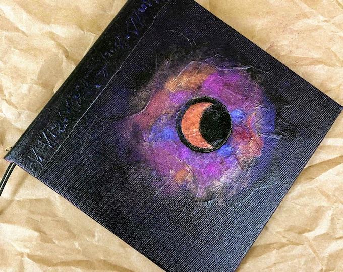 Handmade Refillable Journal 6x6 Dark Violet Eclipse Original travellers notebook hardcover fauxdori