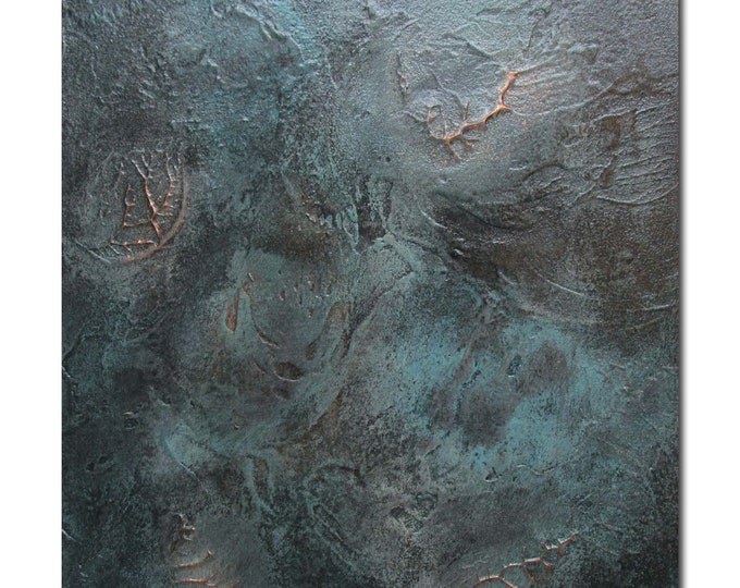 Original Abstract Art Modern Textured Painting copper black turquoise. Fossil 1