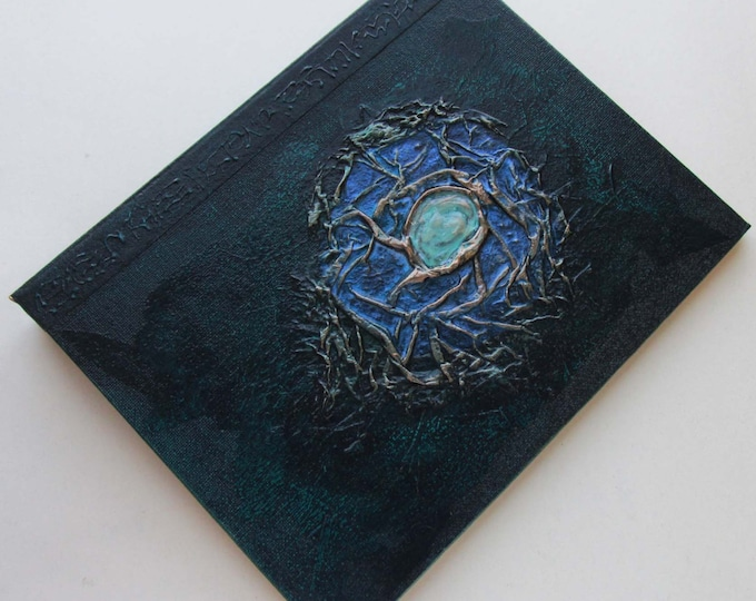 Handmade Refillable Journal Dark Green Sea Jewel 9x7 Original