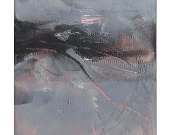 Abstract Expression Art Original Contemporary Painting coral turquoise gray. TrailMarks series