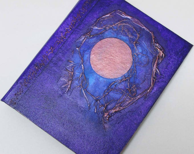 Handmade Journal Refillable Moon blue violet copper 9x7 Original traveller notebook fauxdori