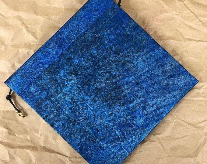 Handmade Refillable Journal 6x6 Blue Black Abstract Original travellers notebook hardcover fauxdori