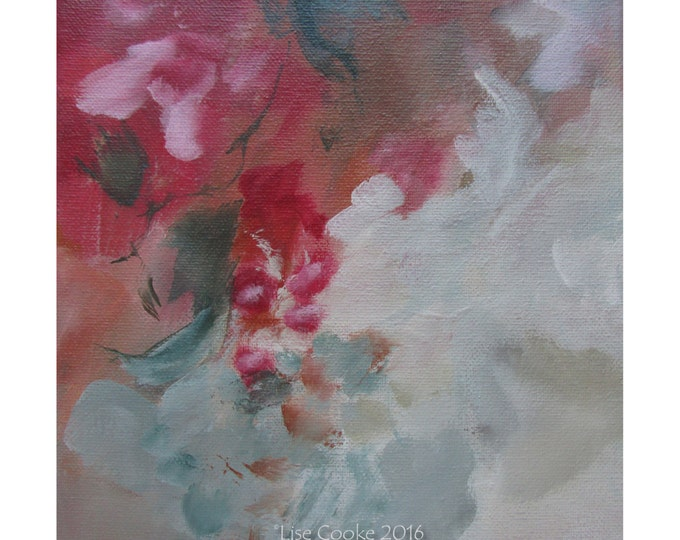 Abstract Expression Art Original Contemporary Painting red green gray. Musing 147