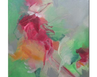Acrylic Abstract Original Art Modern Contemporary Painting. Blossoming 202. red green grey