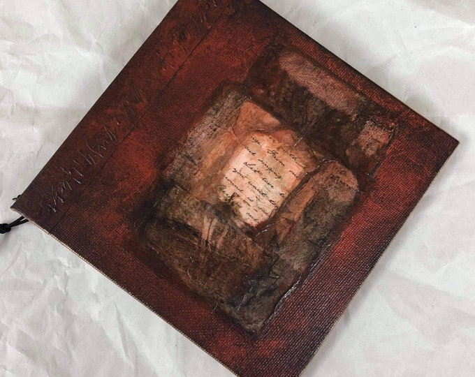 Handmade 6x6 Refillable Journal Burnt Sienna Rice Paper Collage Original Travellers Notebook Hardcover Fauxdori