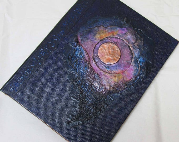 Handmade Refillable Journal Eclipse Navy textured 8x6 Original travellers notebook hardcover fauxdori