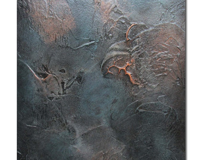 Original Abstract Art Modern Textured Painting copper black turquoise. Fossil 3