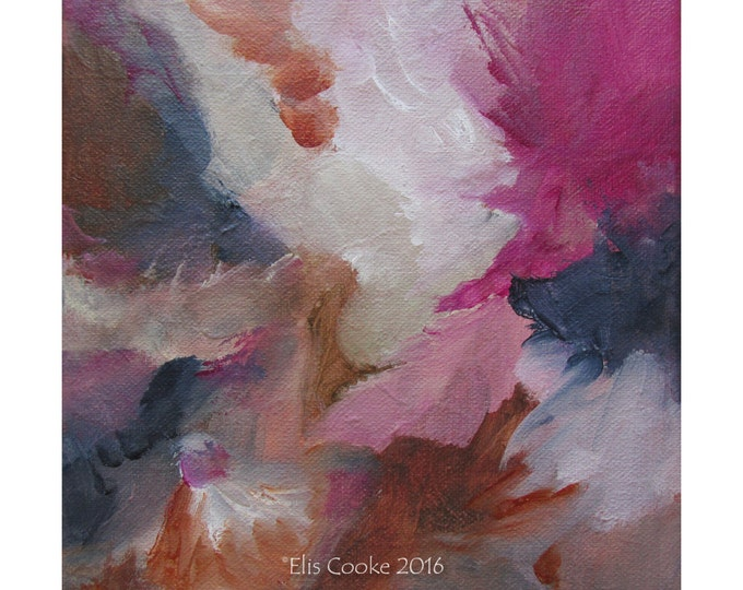 Abstract Expression Art Original Contemporary Painting pink indigo burnt sienna ivory. Musing 123