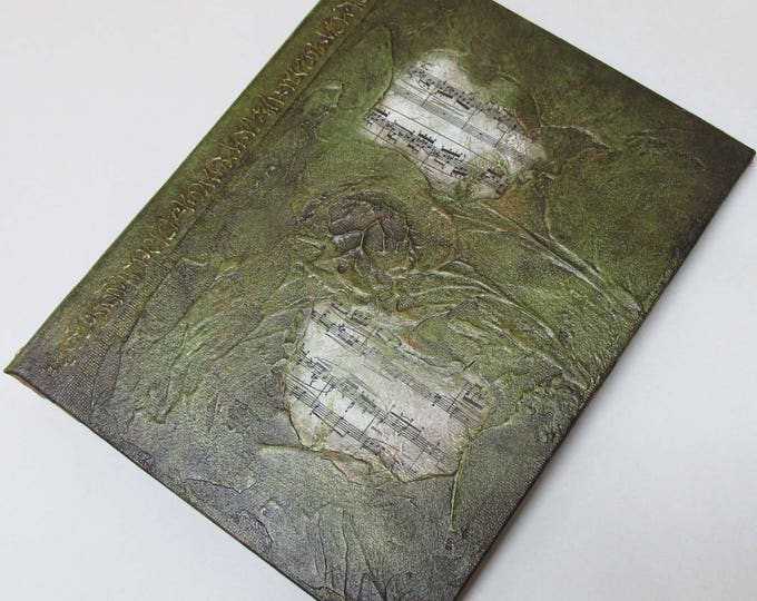 Handmade 9x7 Journal Refillable Green Music Textured Original traveller notebook fauxdori
