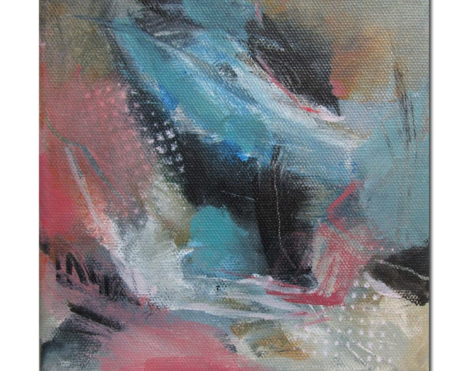 Abstract Expression Art Original Contemporary Painting coral turquoise gray. Balancing Act 2