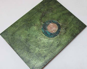 Handmade 9x7 Journal Refillable Eclipse green olive Original traveller notebook faux dork