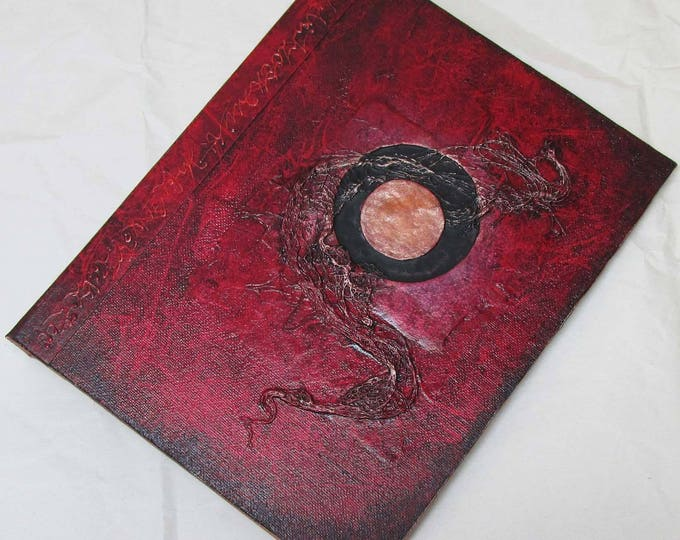 Handmade Journal Refillable Eclipse red copper 9x7 Original traveller notebook fauxdori