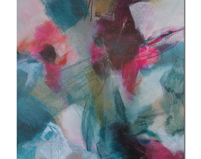 Acrylic Abstract Original Art Modern Contemporary Painting coral pink black green. Germination 1. Detours series
