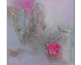 Original Abstract art Mixed Media contemporary modern pink grey. Divining 22