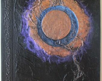 Handmade Refillable Journal Black Moon Eclipse 9x7 Original