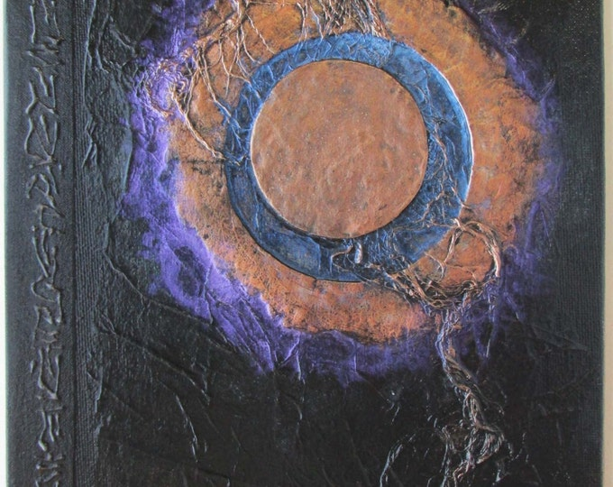 Handmade Refillable Journal Black Moon Eclipse 9x7 Original