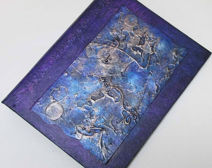 Handmade Journal Refillable Texture patches blue violet 9x7 Original traveller notebook fauxdori