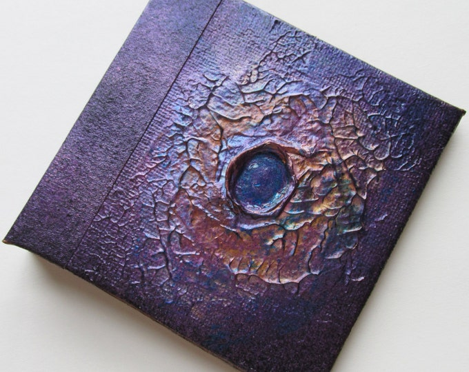Handmade Journal Plum copper nebula Refillable 4x4 OOAK Original jotter notebook