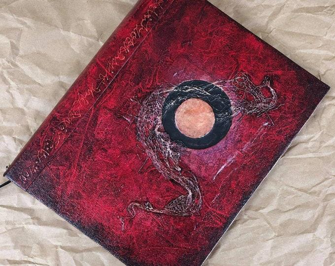 Handmade 9x7 Journal Refillable Red Moon Original traveller notebook fauxdori