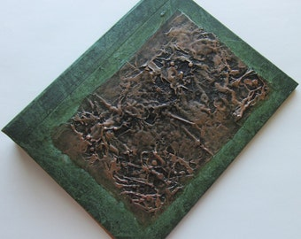 Refillable Journal green copper black texture patch 9x7 Original Handmade art journal