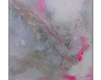 Original Abstract art Mixed Media contemporary modern pink grey. Divining 23