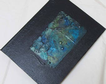 Handmade 8x6 Refillable Journal Indigo Texture Patch Original travellers notebook hardcover fauxdori