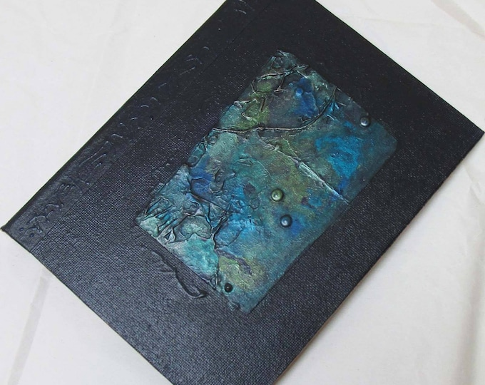 Handmade Refillable Journal Indigo Texture Patch 8x6 Original travellers notebook hardcover fauxdori