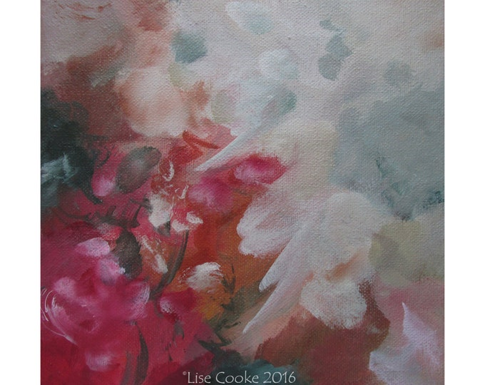 Abstract Expression Art Original Contemporary Painting red green gray. Musing 146