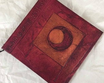 Handmade 6x6 Refillable Journal Red Copper Lunar Original Travellers Notebook Hardcover Fauxdori