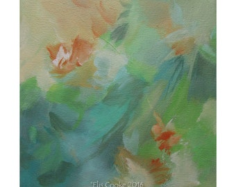 Abstract Expression Art Original Contemporary Painting turquoise green orange. Musing 129