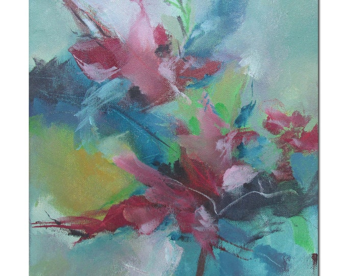 Acrylic Abstract Original Art Modern Contemporary Painting. Bloom 204 red blue green grey