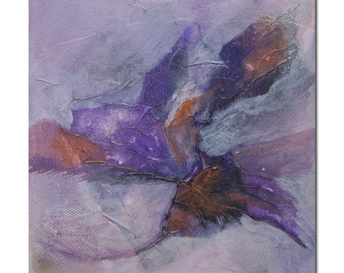 Original Expressionism Abstract art Mixed Media contemporary modern violet copper. Divining 26