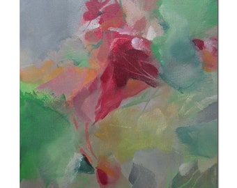 Acrylic Abstract Original Art Modern Contemporary Painting. Blossoming 201. red green grey