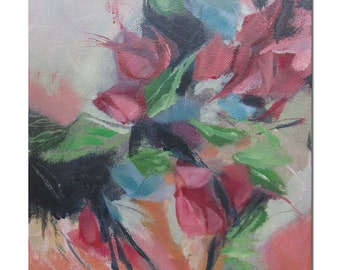 Abstract Expression Art Original Contemporary Painting Bloom 202. red green blue