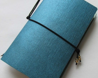 Junk journal mini collage paper notebook micro travellers notebook style fauxdori turquoise
