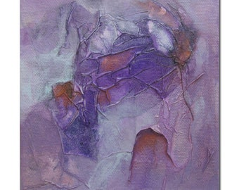 Original Expressionism Abstract art Mixed Media contemporary modern violet copper. Divining 27