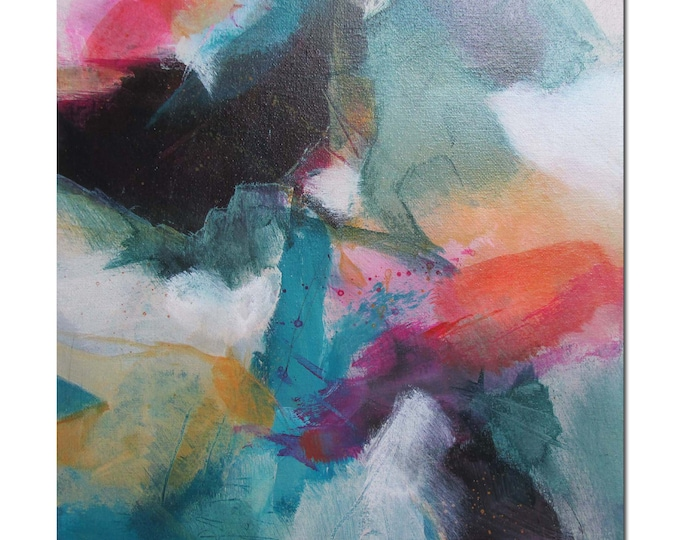 Acrylic Abstract Original Art Modern Contemporary Painting coral pink black green. Germination 3. Detours series