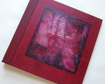 Handmade 8x8 Journal Red Rice paper Collage Refillable OOAK Original fauxdori traveller notebook
