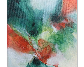 Original Abstract art Mixed Media contemporary modern green burnt orange. Divining 28