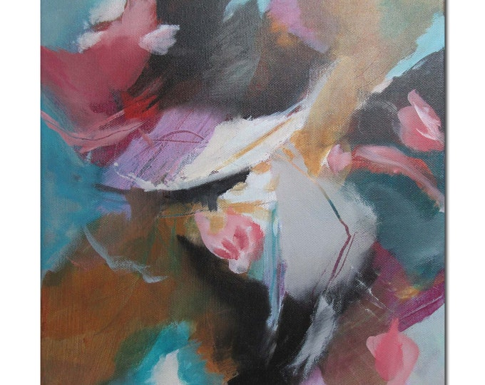 Acrylic Abstract Original Art Modern Contemporary Painting coral turquoise black. Happening 1. Detours series