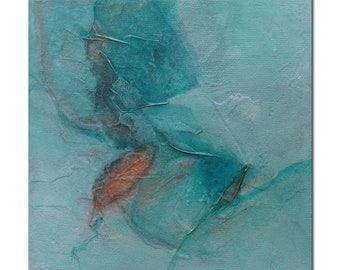 Original Abstract art Mixed Media contemporary modern turquoise copper. Divining 24