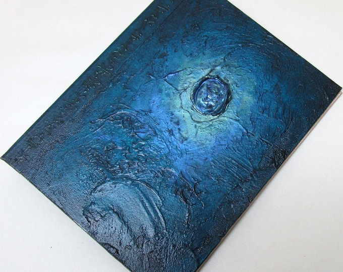 Handmade Journal Refillable Blue Green Sea Jewel Textured 9x7 Original traveller notebook fauxdori
