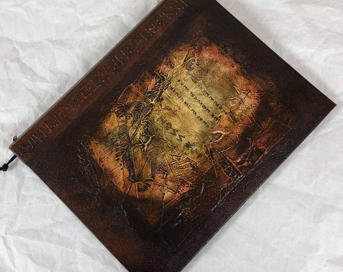Handmade 9x7 Journal Refillable Sepia Rust Distressed Runes Original Traveller Notebook Fauxdori