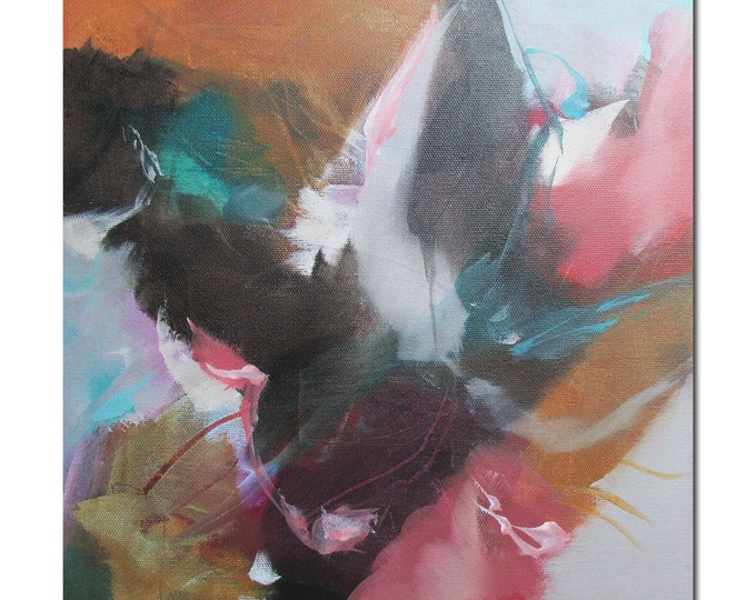 Acrylic Abstract Original Art Modern Contemporary Painting coral turquoise black. Happening 2. Detour series