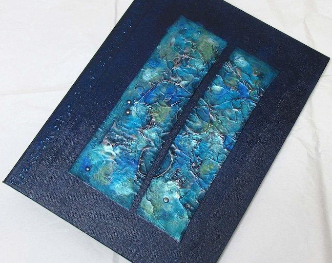 Handmade Journal Refillable Blue Navy texture patches 12x9 Original traveller notebook fauxdori
