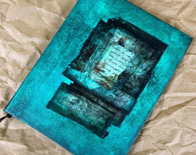 Handmade 8x6 Journal Refillable Distressed Turquoise Rice Paper Collage Original